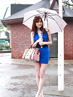 Natsuki Ikeda Asian takes blue dress off to play in the pool