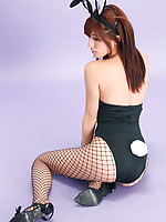 Mana Mizuno Asian bunny shows naughty behind in fishnet stockings